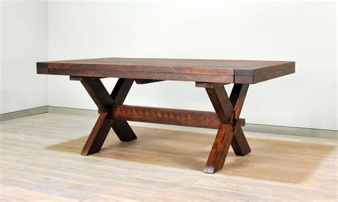 ruff sawn buxton x leg dining table
