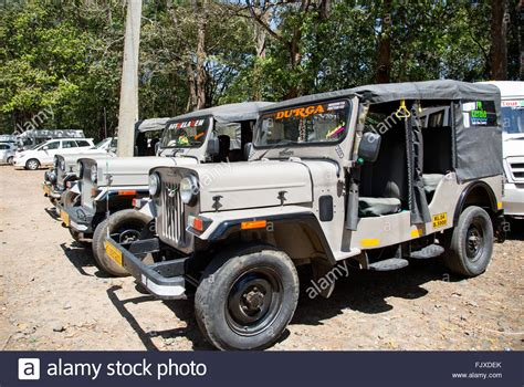 kerala jeep indian mahindra jeeps in the munnar hills kerala stock