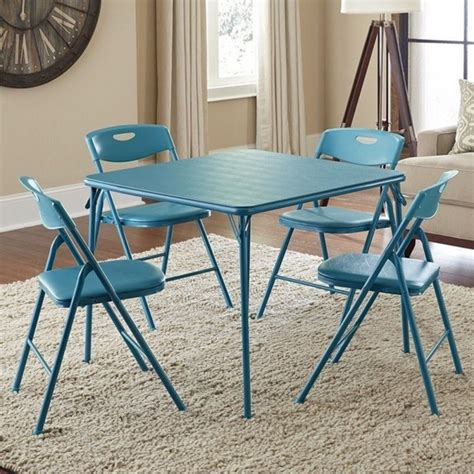 Cosco Folding Table And Chairs Ameriwood Cosco Collection 5 Folding Table And Chair Set Teal 37557teae