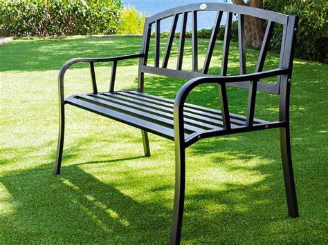 banc en metal banc de jardin en m 233 tal alvernia noir hesperide jardideco