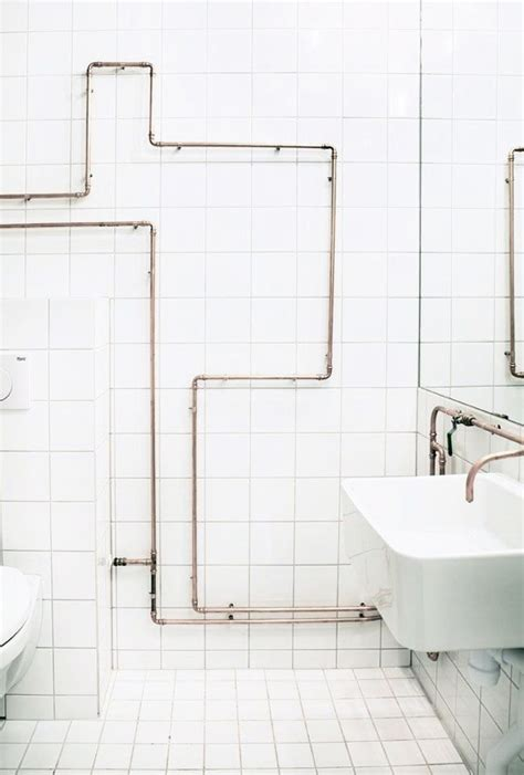 pipeline bathrooms clever bathroom pipe design on white tile for the home