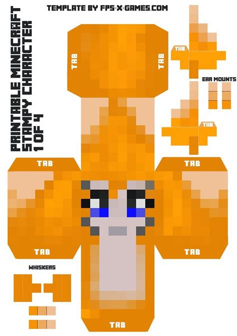 Print Out Minecraft Papercraft - sty cat large minecraft printable sty character 1