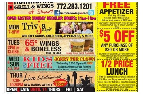 coupons hurricane grill and wings