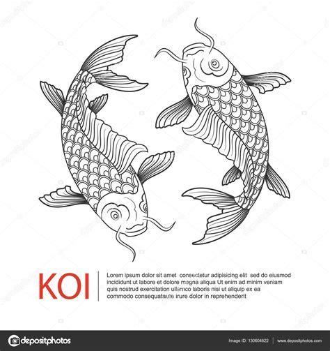 tattoo carpe koi noir et blanc hand drawn line art of koi carp carp fish logo vector