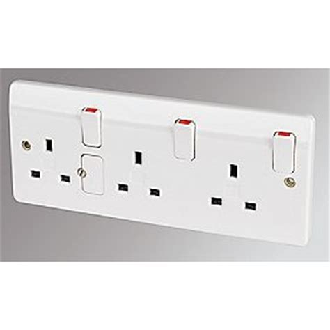 Three Way L Socket by Mk 13a 3 Dp Switched Socket White Switches