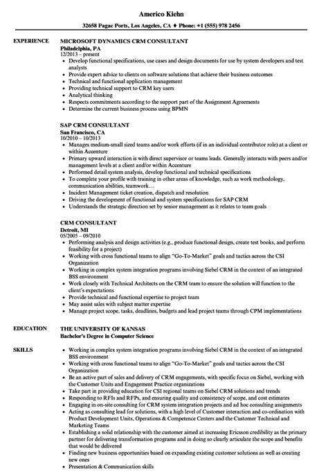 crm consultant resume sles velvet