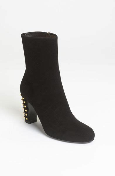 gucci jacquelyne studded suede ankle boots in black lyst