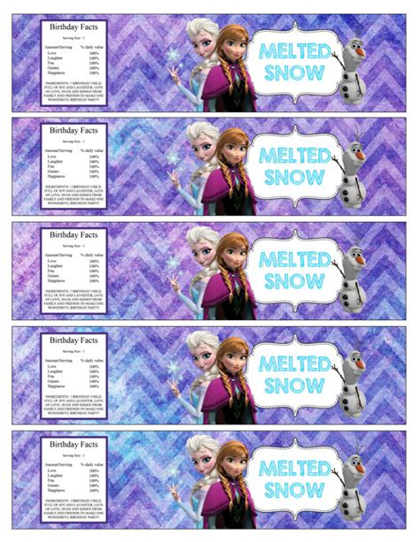 frozen printable melted snow melted frozen snow water bottle free printables party