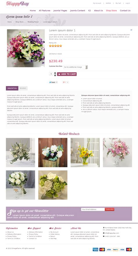 modern joomla templates ot happyday modern flower shop virtuemart