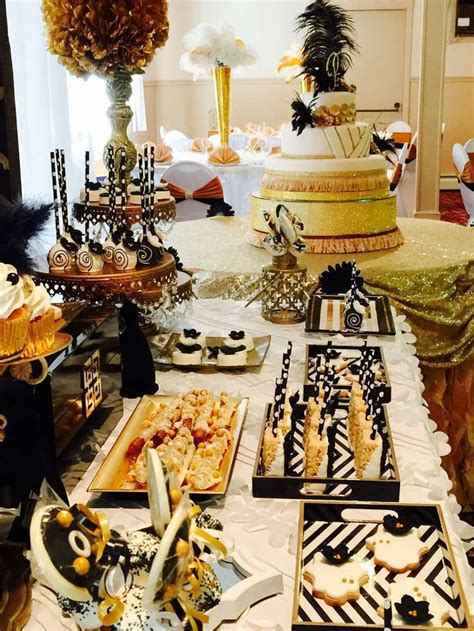 great gatsby quinceanera party dessert table