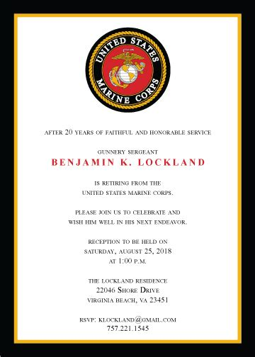 Marine Corps Count Cards Template by Retirement Invitation Created By V