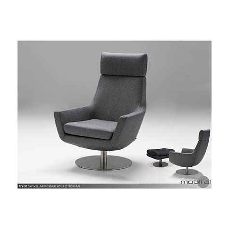pivot swivel armchair charcoal fabric with stainless steel