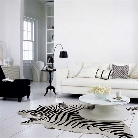 Black And White Living Room Decor White Living Room Design With Black Chair And L Also Tiger Motif Rug Sayleng Sayleng