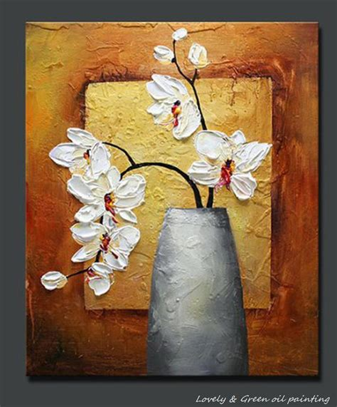painted textured palette knife white flower orchid
