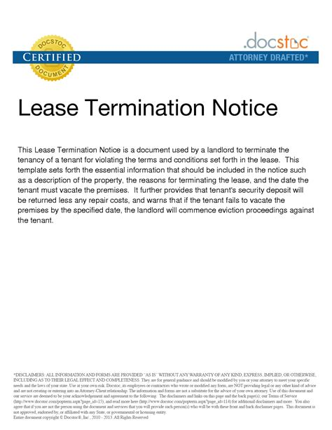 Notice Lease Termination Landlord Termination Letter Sle Sle Termination Letter 7 Free Documents In Word
