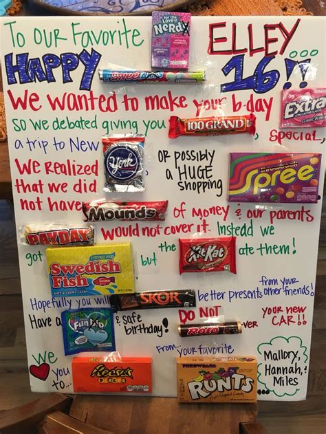 Poster Birthday Card Ideas Quot Sweet 16 Quot Candy Poster Birthday Ideas Pinterest 16