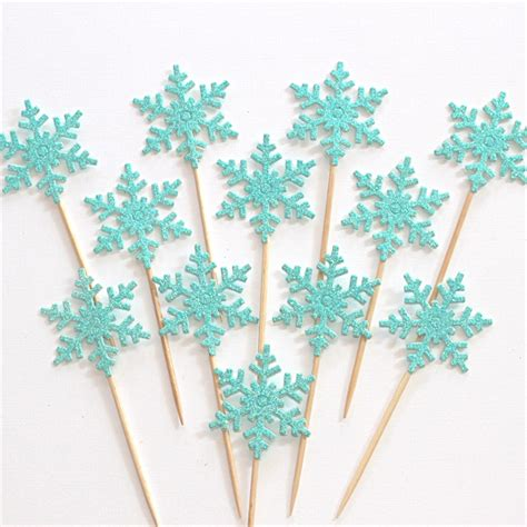 glitter snowflake cupcake toppers frozen inspired party  paper stand madeitcomau
