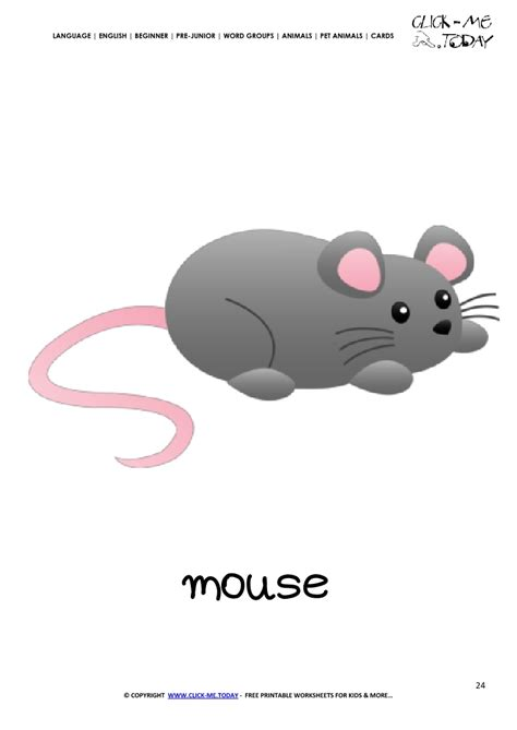 mouse card printable pet animal mouse wall card mouse flashcard