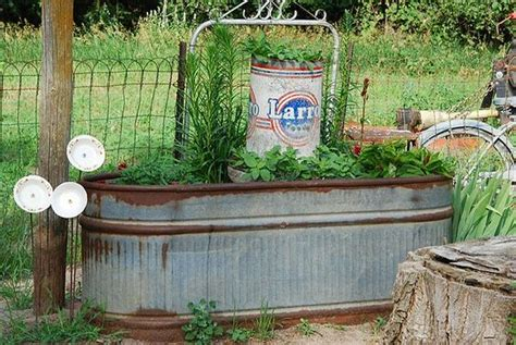 water trough planter with gate trellis galvanized metal