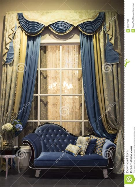 historic curtains interior with sofa and curtains stock image image of