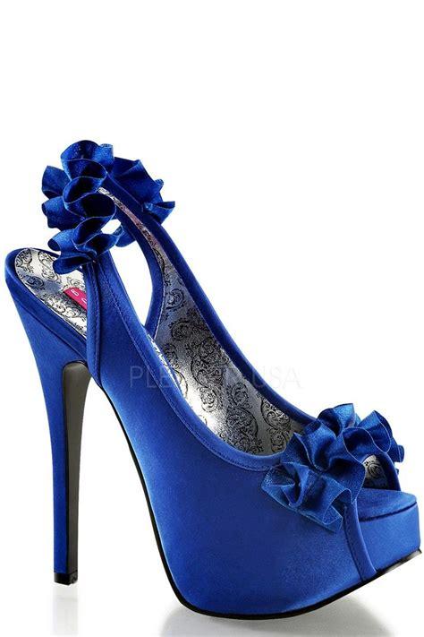 navy blue ruffle detailed slingback platform high heels