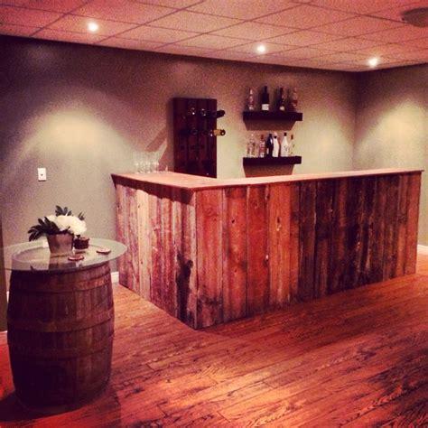 My DIY barn board bar . DIY barrel standing pub table