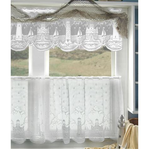 Kitchen Lace Curtains White Lighthouse Lace Tier Curtains By Heritage Lace Bedbathhome