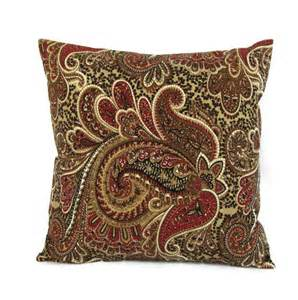 Throw Pillows For Burgundy Sofa Brown Paisley Pillow Cover Taupe Burgundy Throw Toss Accent
