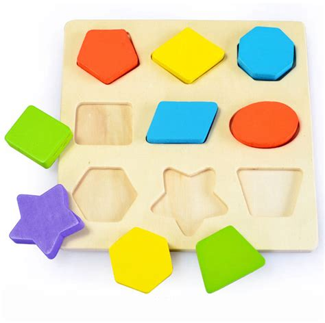figuras geometricas vectorizadas 3d rompecabezas de madera para ni 241 os aprendizaje de madera