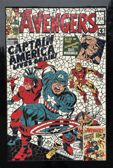 classic comic book covers recreated  beautiful mosaics