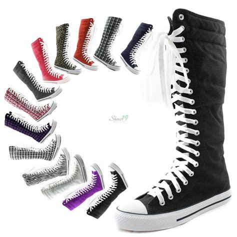 womens canvas sneaker flat mid calf lace up knee high boot skater shoe ebay