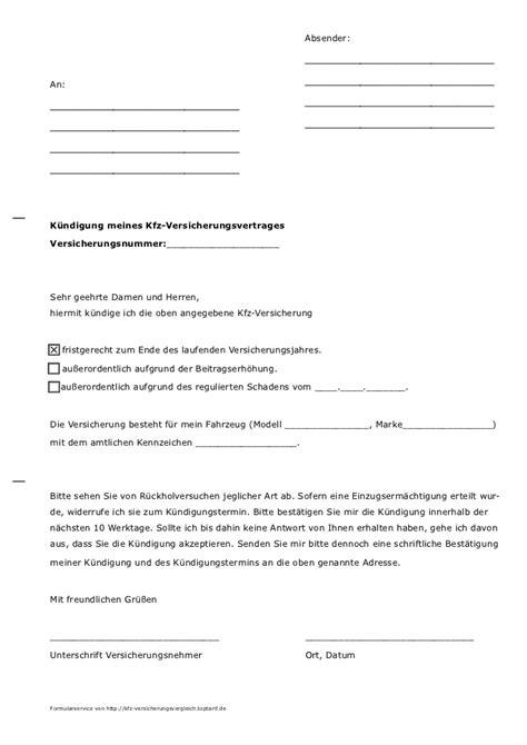 Kfz Versicherung Ndern Vorlage by Musterk 252 Ndigung F 252 R Kfz Versicherung Von Toptarif De