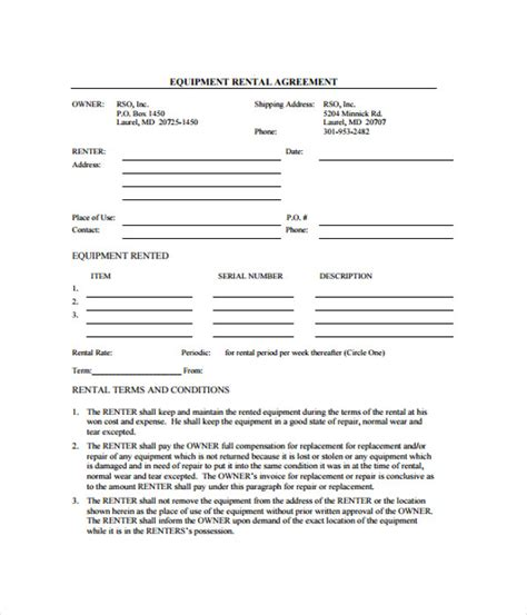 sle equipment lease agreement template equipment use agreement template 28 images equipment