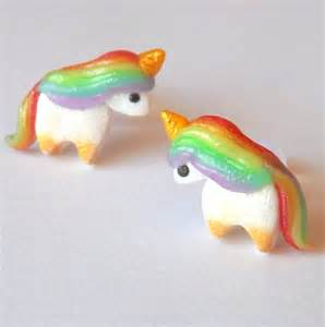 Polymer clay unicorns cute stud earrings pitterpatterpolymer
