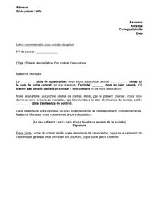 Resiliation De Lettre Lettre De R 233 Siliation Lettre De Motivation 2017