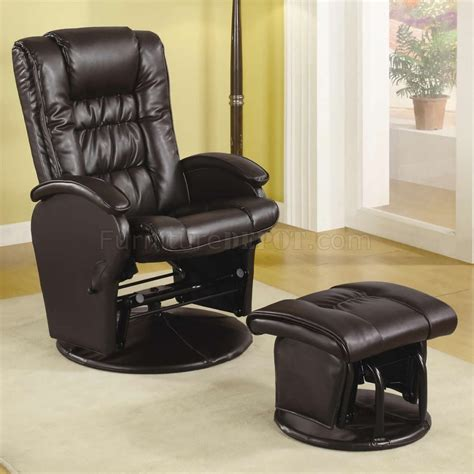 glider chair ottoman brown vinyl modern swivel glider chair w ottoman
