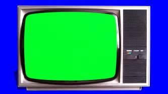green tv old tv vintage televison green screen tracking shot and