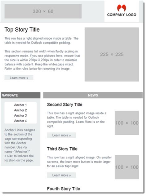 2 column responsive email template image collections
