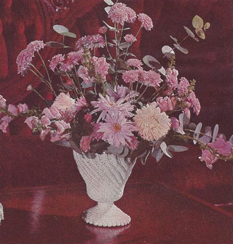 Crochet Flower Vase Pattern by Vintage Crochet Pattern Milk Glass Flower Vase Jar Ebay