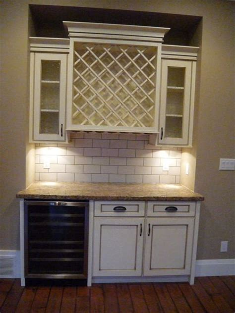 vintage kitchen tile backsplash antique white cabinets wine cabinet stainless steel wine