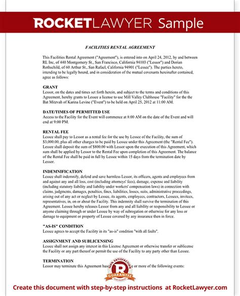 fundraising agreement template event rental agreement template facilities rental agreement