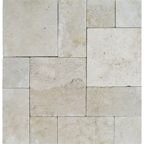 ms international tuscany beige pattern 16 sq ft tumbled travertine paver kit 10 kits 160 sq