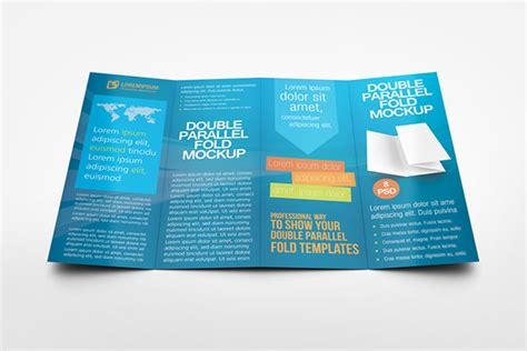 Double Parallel Fold Brochure Mockup On Behance Parallel Fold Brochure Template