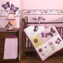 purple and pink butterfly 3pc baby nursery crib
