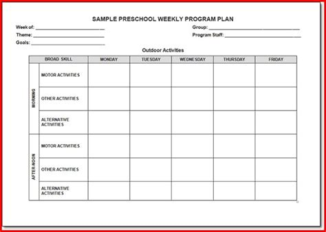curriculum lesson plan template the creative curriculum for preschool lesson plan template