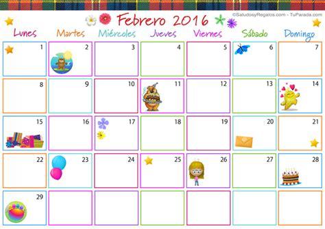 Calendario Febrero 2016 Calendario Multicolor Febrero 2016 Calendario