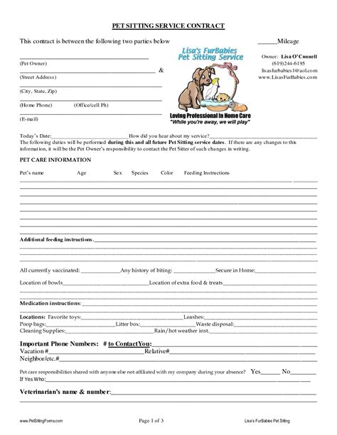 sitting template pet sitting contract templates dogs pet