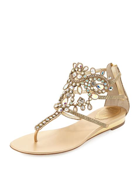 flat embellished sandals rene caovilla embellished leather sandals in