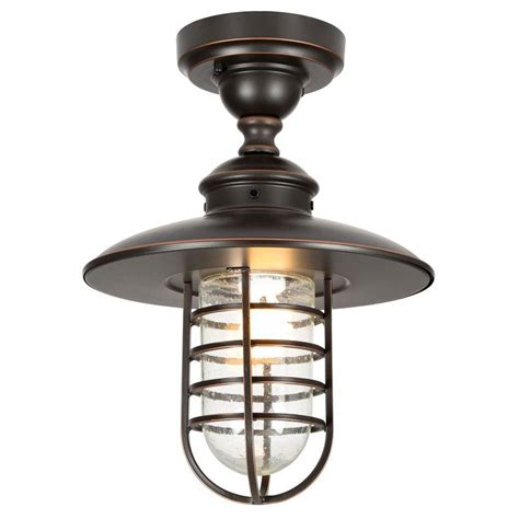 Outside Ceiling Light Hton Bay Dual Purpose 1 Light Outdoor Hanging Rubbed Bronze Pendant Or Flushmount Lantern