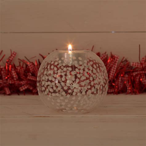 glass starburst christmas tea light holder by red berry